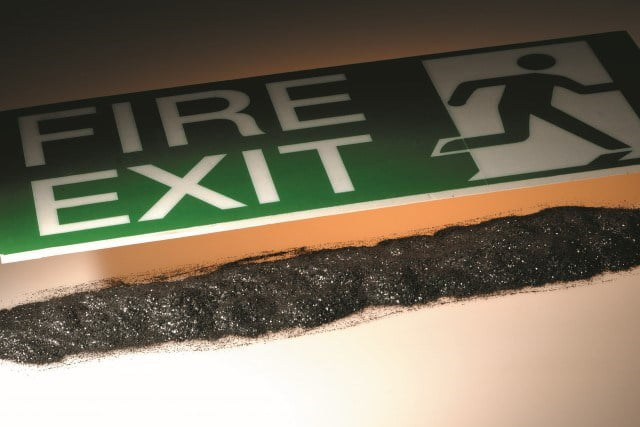 Fire exit sign with firecarb expandable graphite