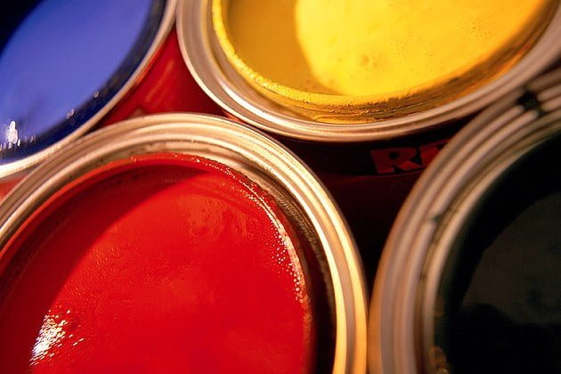 Industrial Coatings colourful paint cans