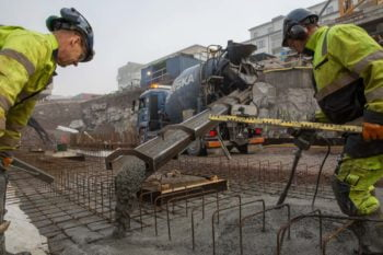Pouring concrete for a radiation shielding project