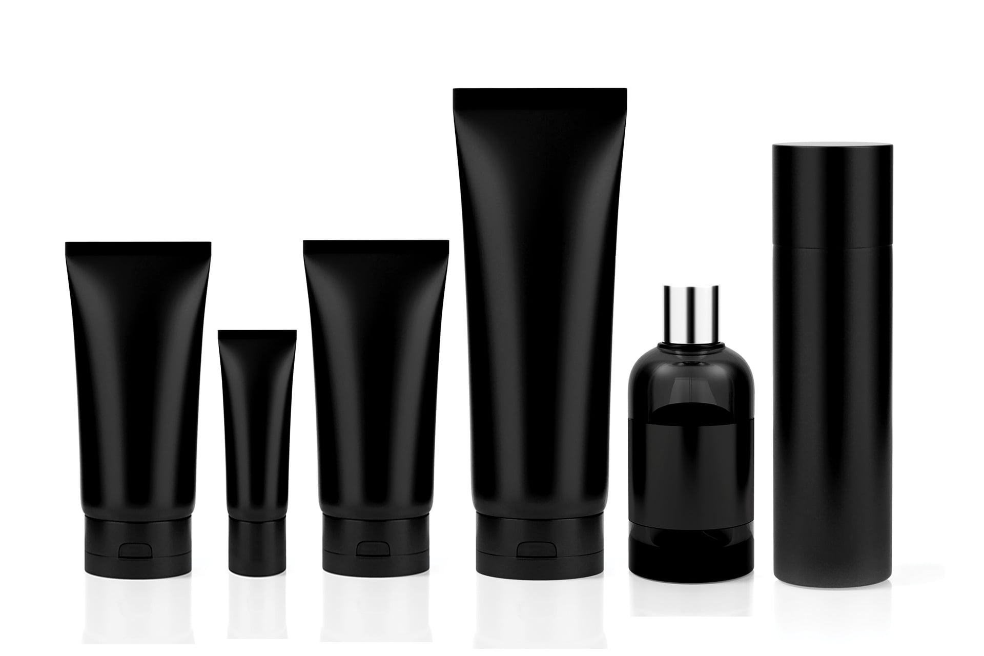 Black plastic packages cosmetics